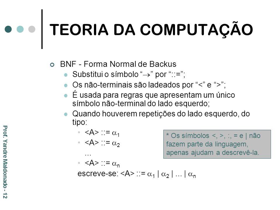 TEORIA DA COMPUTAÇÃO BNF - Forma Normal de Backus