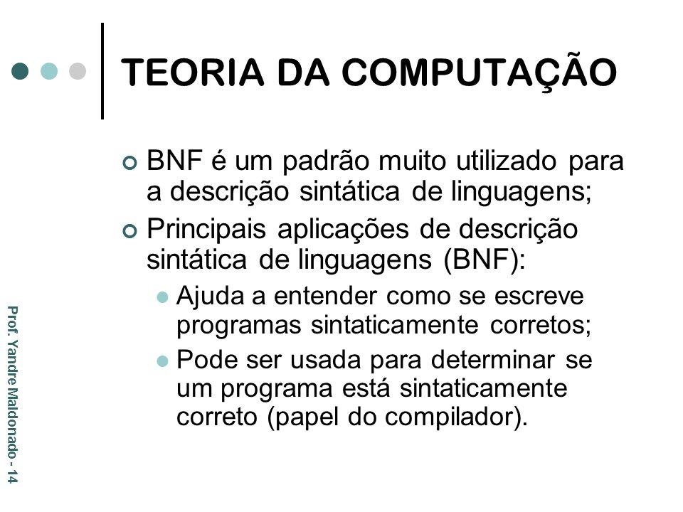 TEORIA DA COMPUTAÇÃO BNF é um padrão muito utilizado para a descrição sintática de linguagens;