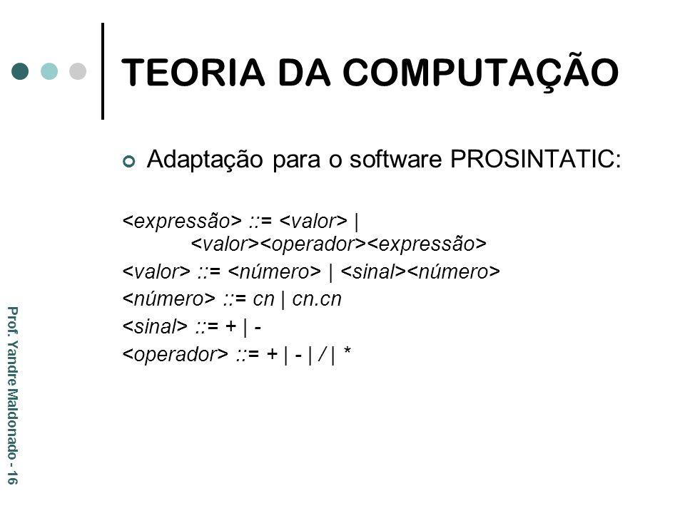 TEORIA DA COMPUTAÇÃO Adaptação para o software PROSINTATIC: