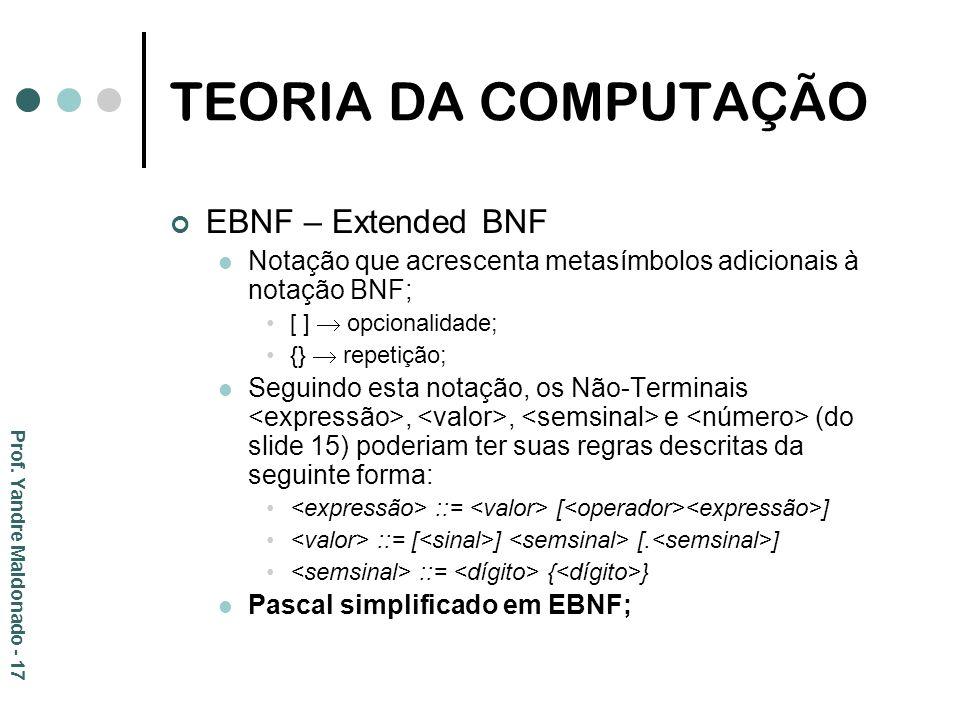 TEORIA DA COMPUTAÇÃO EBNF – Extended BNF