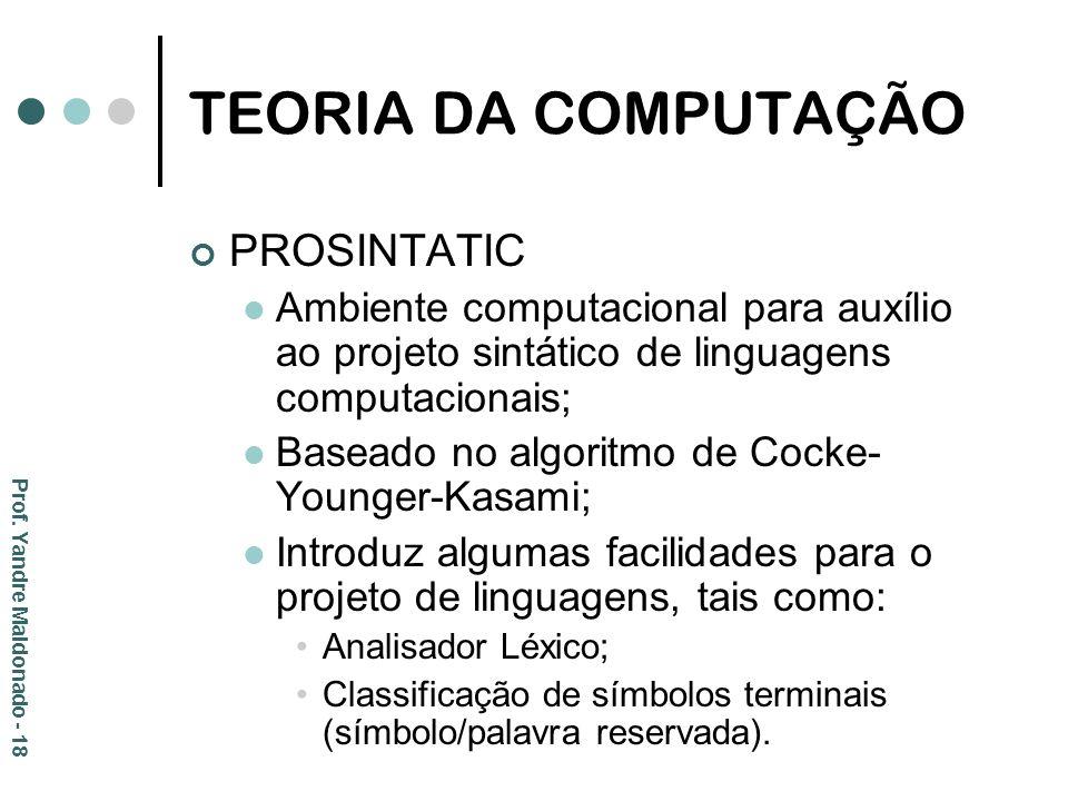 TEORIA DA COMPUTAÇÃO PROSINTATIC