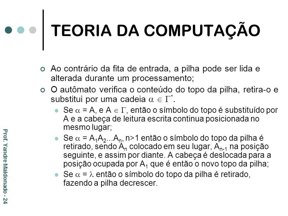 TEORIA DA COMPUTAÇÃO Ao contrário da fita de entrada, a pilha pode ser lida e alterada durante um processamento;
