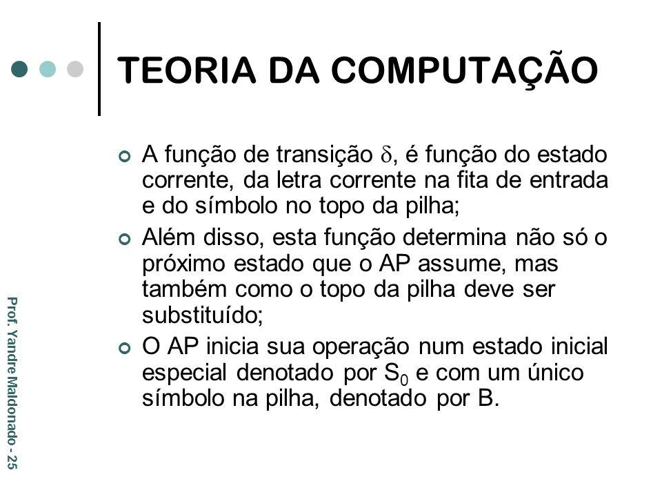 TEORIA DA COMPUTAÇÃO A função de transição , é função do estado corrente, da letra corrente na fita de entrada e do símbolo no topo da pilha;