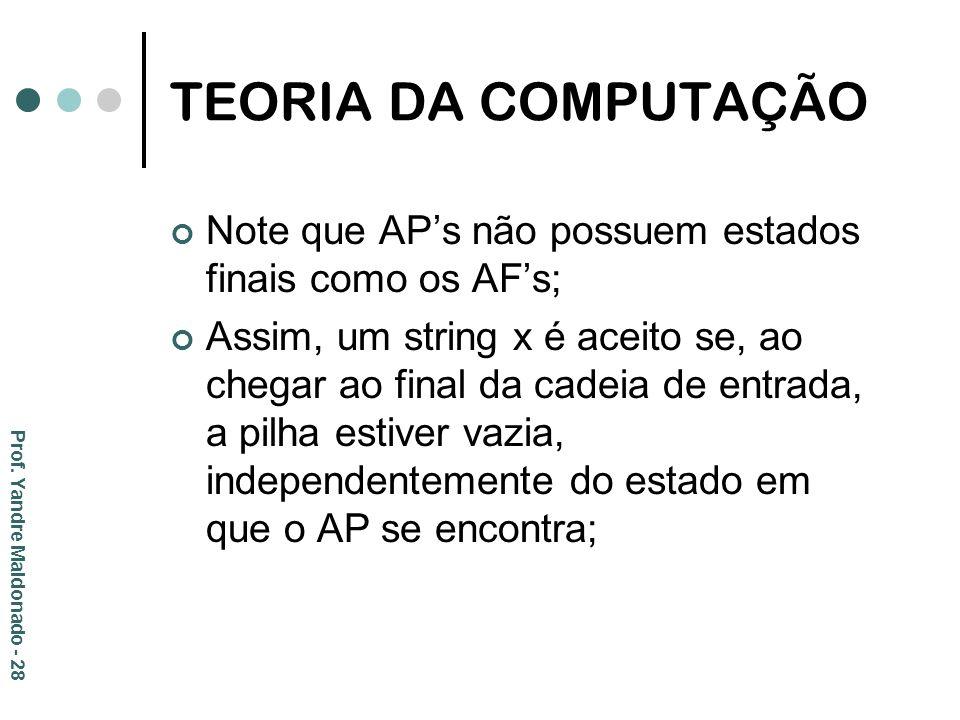 TEORIA DA COMPUTAÇÃO Note que AP's não possuem estados finais como os AF's;