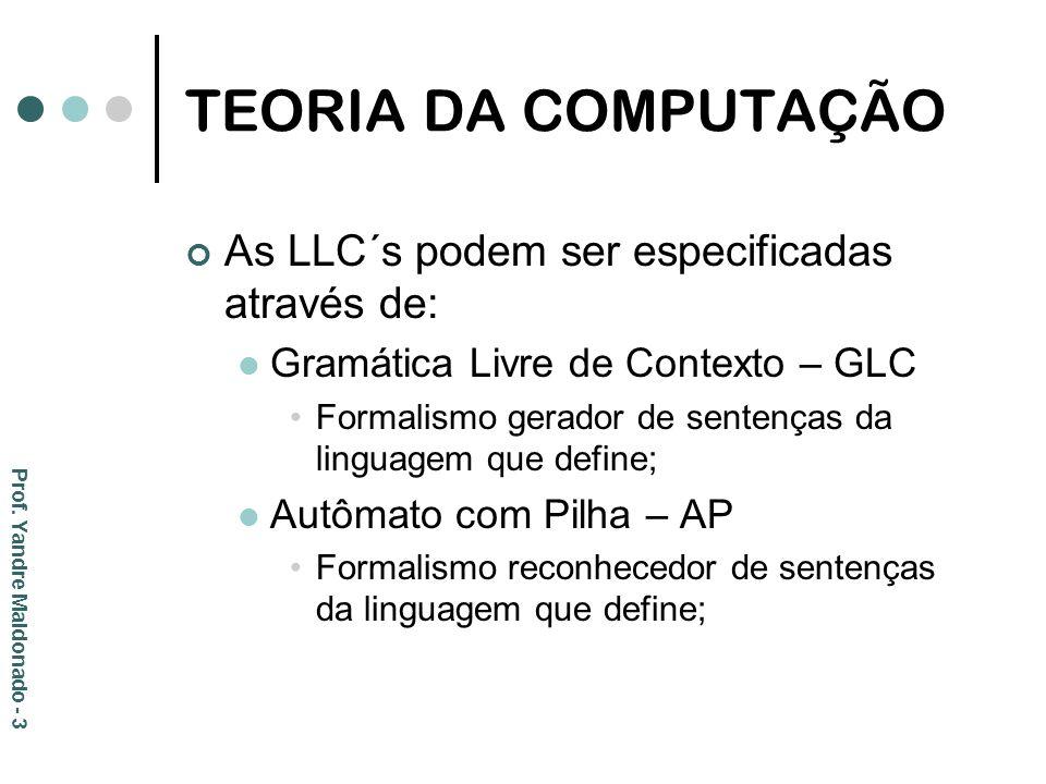TEORIA DA COMPUTAÇÃO As LLC´s podem ser especificadas através de: