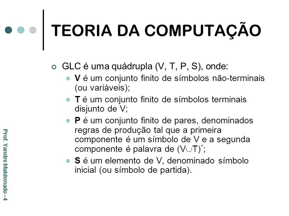 TEORIA DA COMPUTAÇÃO GLC é uma quádrupla (V, T, P, S), onde: