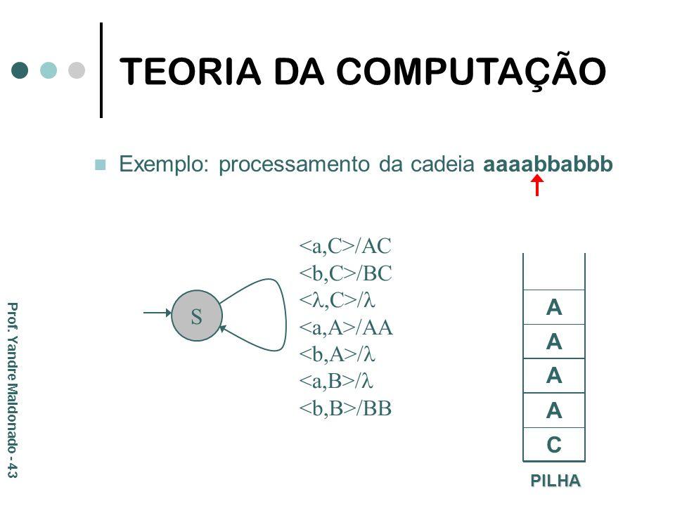 TEORIA DA COMPUTAÇÃO Exemplo: processamento da cadeia aaaabbabbb