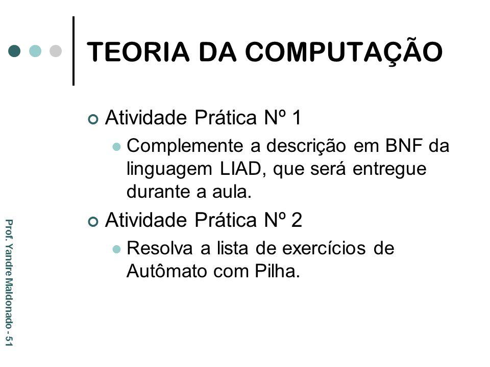 TEORIA DA COMPUTAÇÃO Atividade Prática Nº 1 Atividade Prática Nº 2