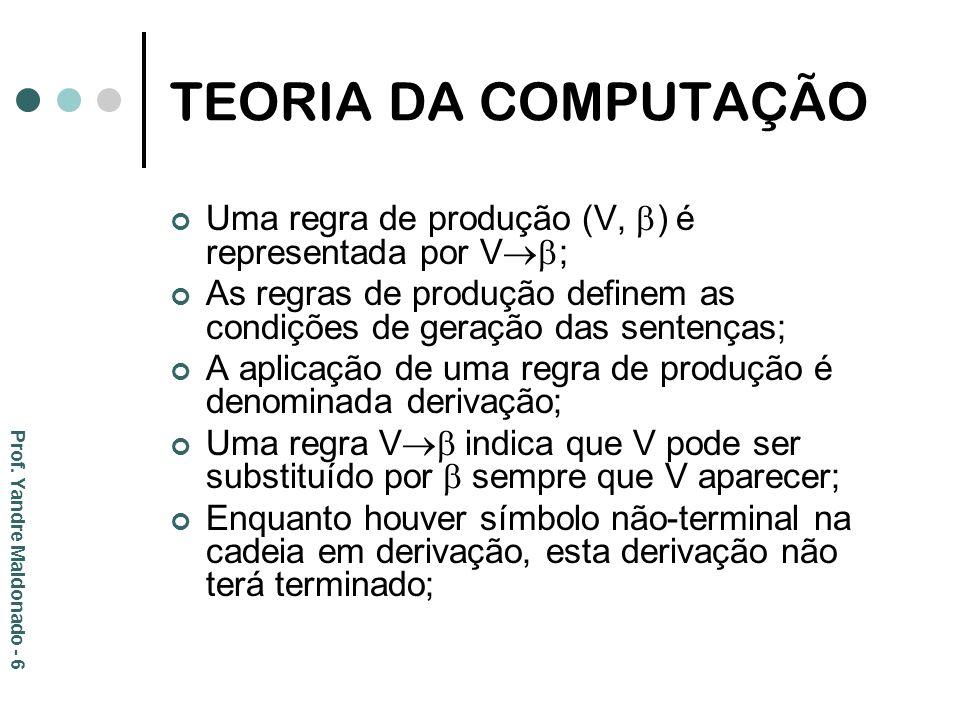 TEORIA DA COMPUTAÇÃO Uma regra de produção (V, ) é representada por V; As regras de produção definem as condições de geração das sentenças;