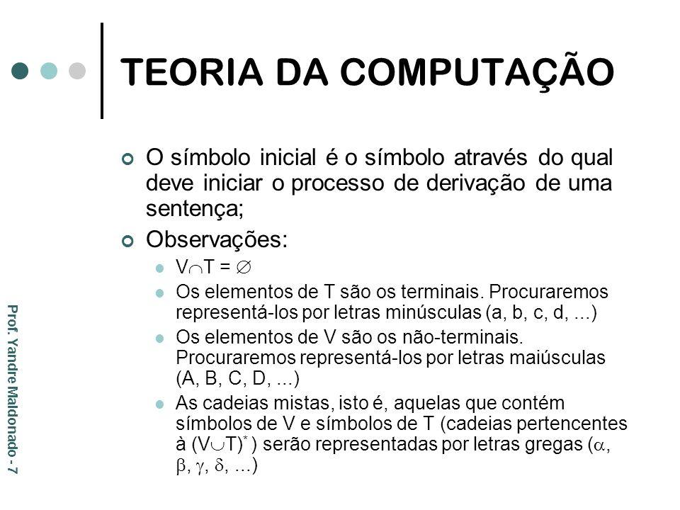 TEORIA DA COMPUTAÇÃO O símbolo inicial é o símbolo através do qual deve iniciar o processo de derivação de uma sentença;
