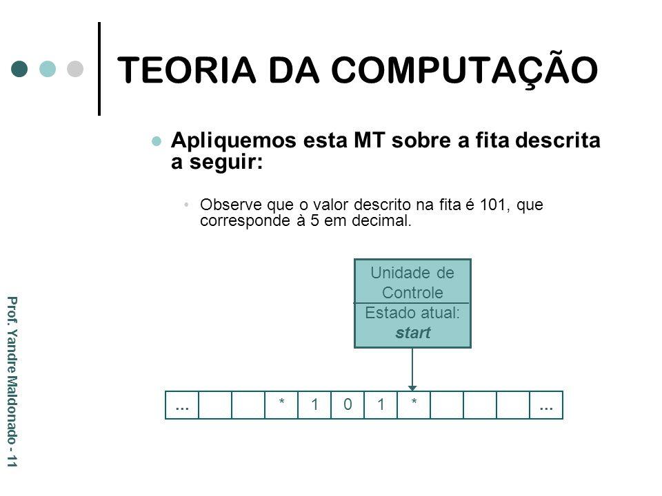 TEORIA DA COMPUTAÇÃO Apliquemos esta MT sobre a fita descrita a seguir: Observe que o valor descrito na fita é 101, que corresponde à 5 em decimal.