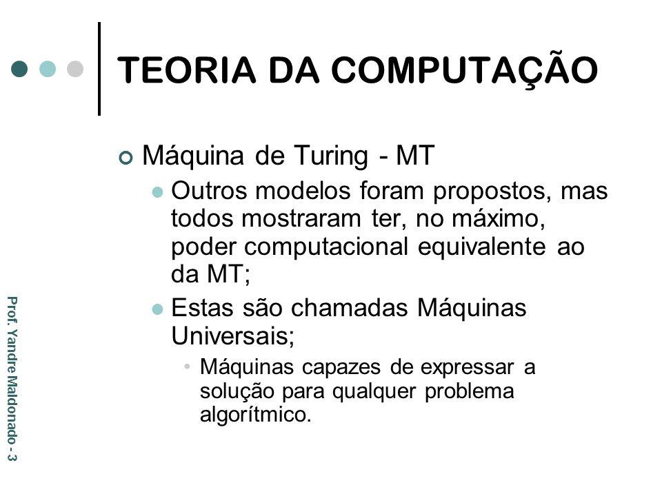 TEORIA DA COMPUTAÇÃO Máquina de Turing - MT