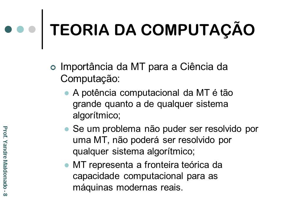 TEORIA DA COMPUTAÇÃO Importância da MT para a Ciência da Computação:
