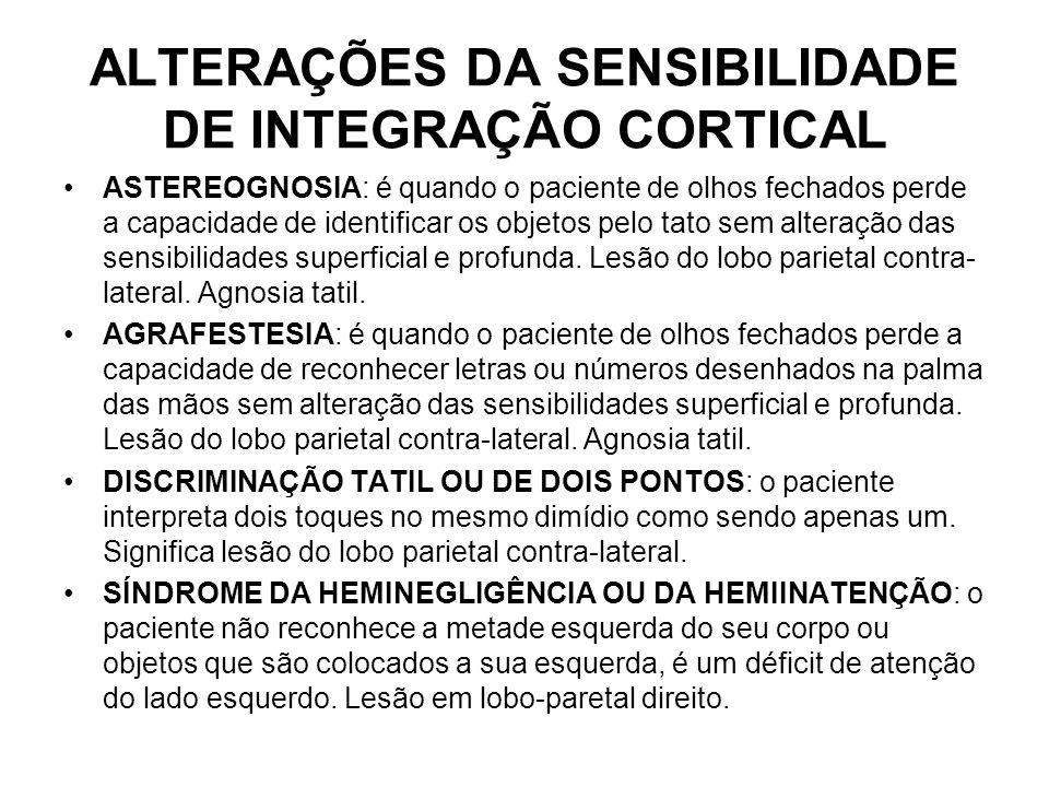 ALTERAÇÕES DA SENSIBILIDADE DE INTEGRAÇÃO CORTICAL