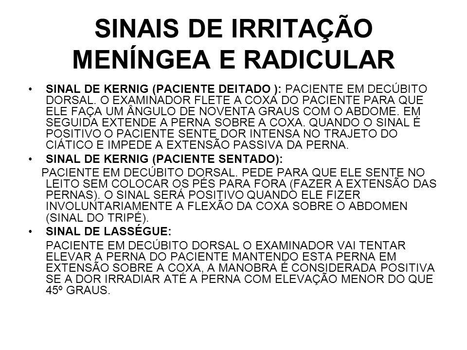 SINAIS DE IRRITAÇÃO MENÍNGEA E RADICULAR