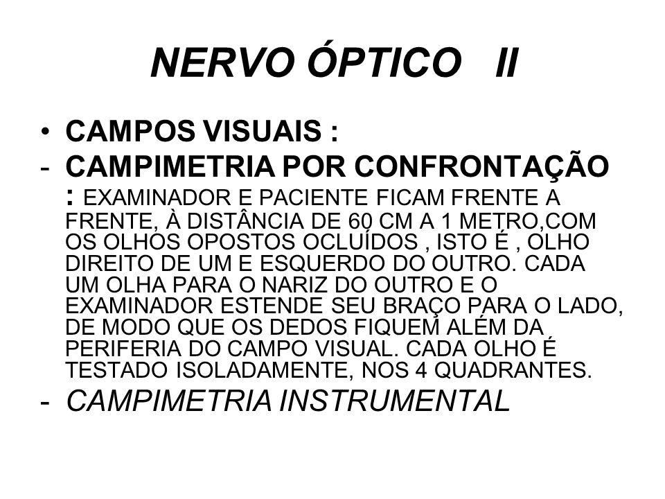 NERVO ÓPTICO II CAMPOS VISUAIS :