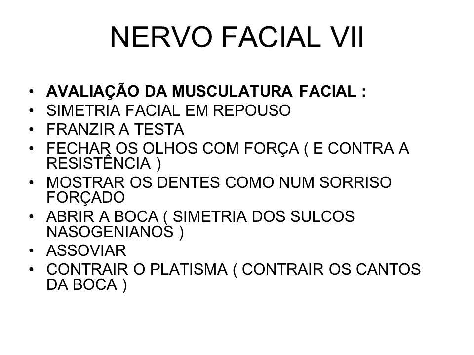 NERVO FACIAL VII AVALIAÇÃO DA MUSCULATURA FACIAL :