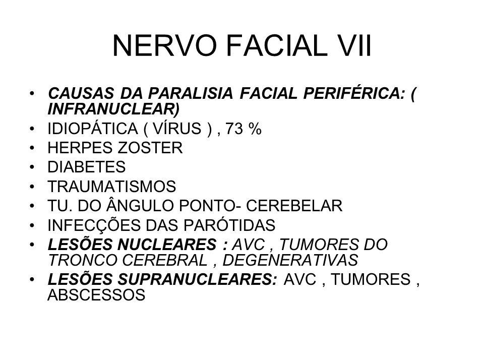 NERVO FACIAL VII CAUSAS DA PARALISIA FACIAL PERIFÉRICA: ( INFRANUCLEAR) IDIOPÁTICA ( VÍRUS ) , 73 %