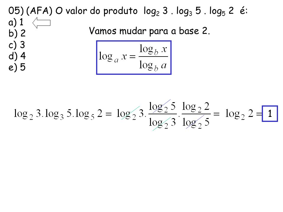 05) (AFA) O valor do produto log2 3 . log3 5 . log5 2 é: