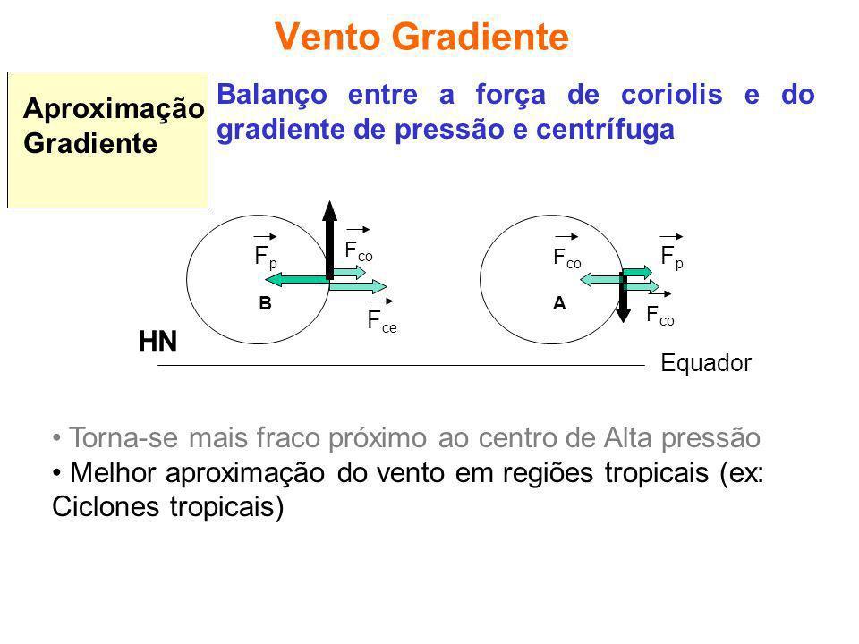 Vento Gradiente Aproximação Gradiente. Balanço entre a força de coriolis e do gradiente de pressão e centrífuga.