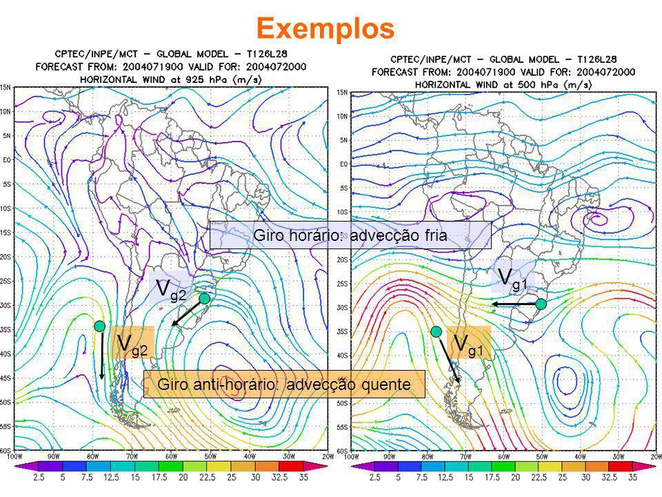 Exemplos Vg2 Vg1 Giro horário: advecção fria