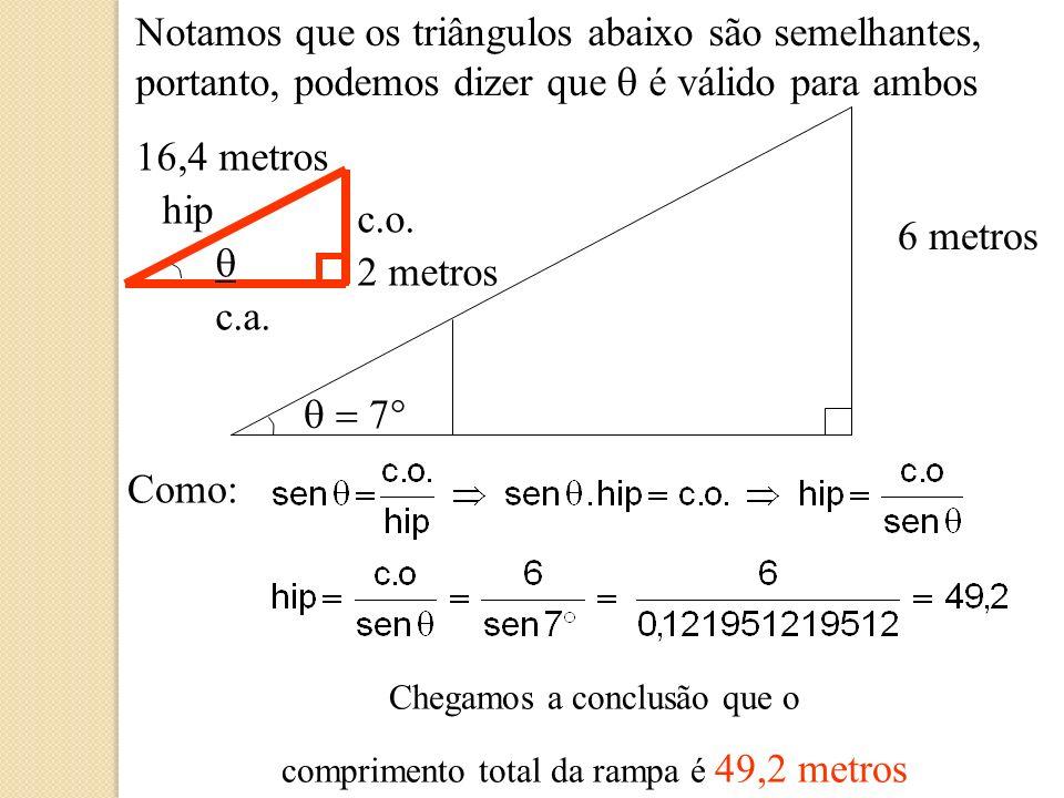 Notamos que os triângulos abaixo são semelhantes, portanto, podemos dizer que q é válido para ambos