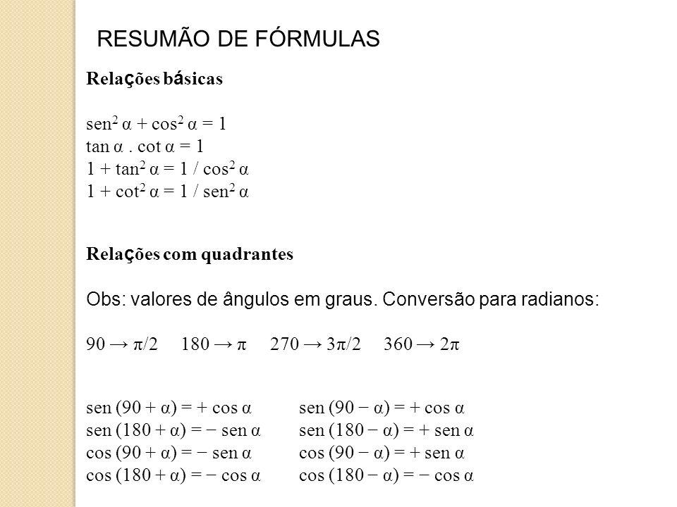 RESUMÃO DE FÓRMULAS Relações básicas sen2 α + cos2 α = 1