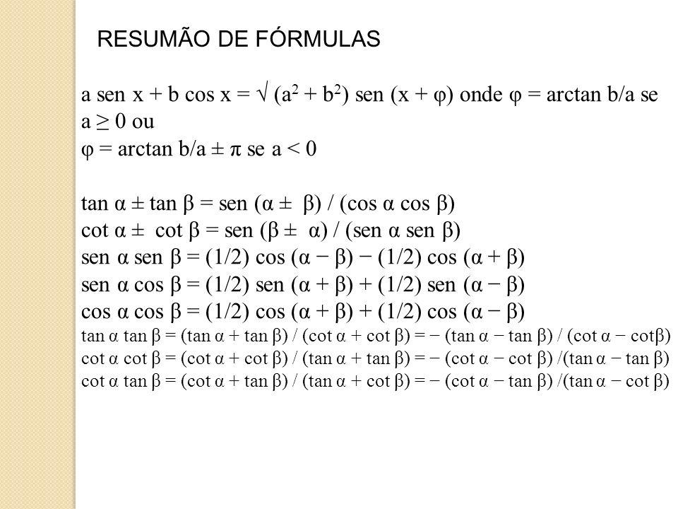 φ = arctan b/a ± π se a < 0