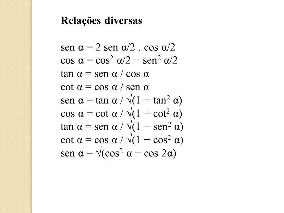 Relações diversas sen α = 2 sen α/2 . cos α/2. cos α = cos2 α/2 − sen2 α/2. tan α = sen α / cos α.
