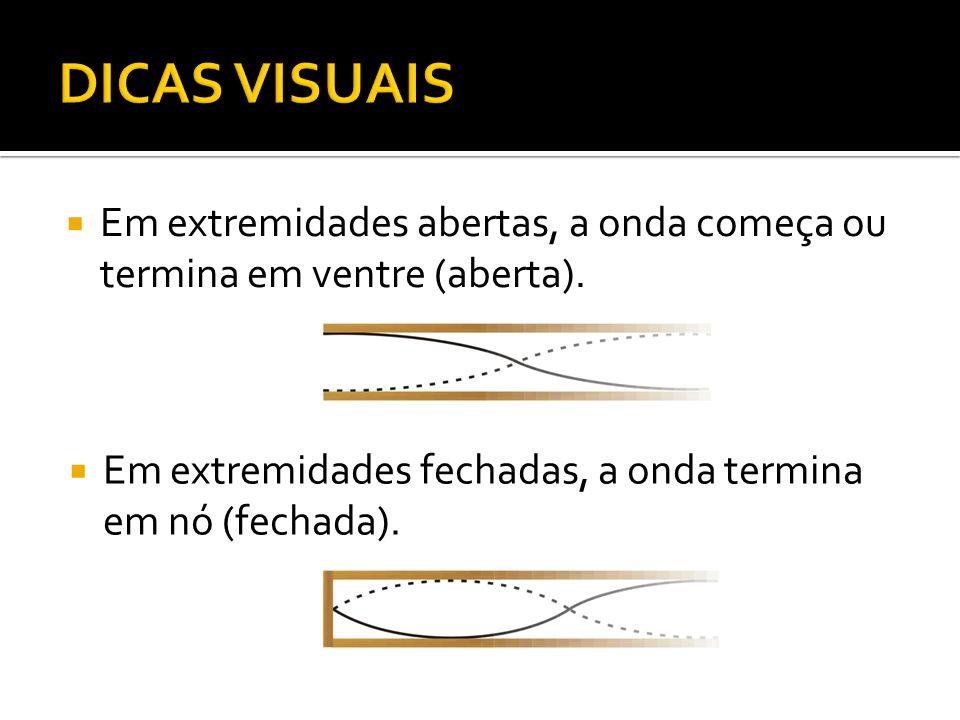 DICAS VISUAIS Em extremidades abertas, a onda começa ou termina em ventre (aberta).