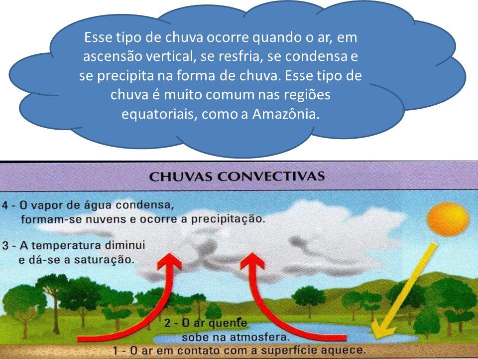 Esse tipo de chuva ocorre quando o ar, em ascensão vertical, se resfria, se condensa e se precipita na forma de chuva.