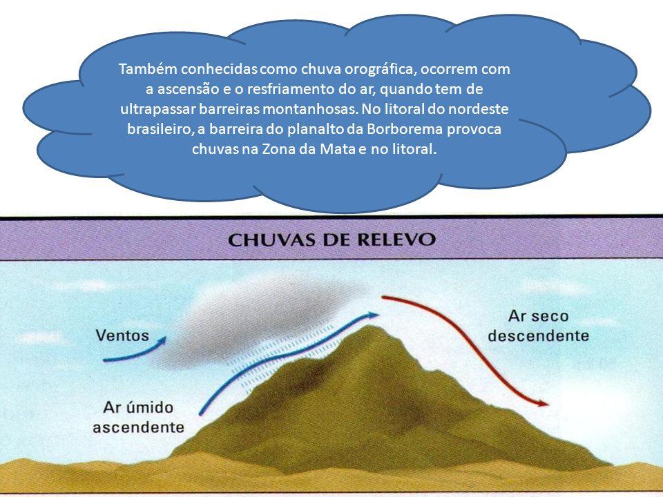 Também conhecidas como chuva orográfica, ocorrem com a ascensão e o resfriamento do ar, quando tem de ultrapassar barreiras montanhosas.
