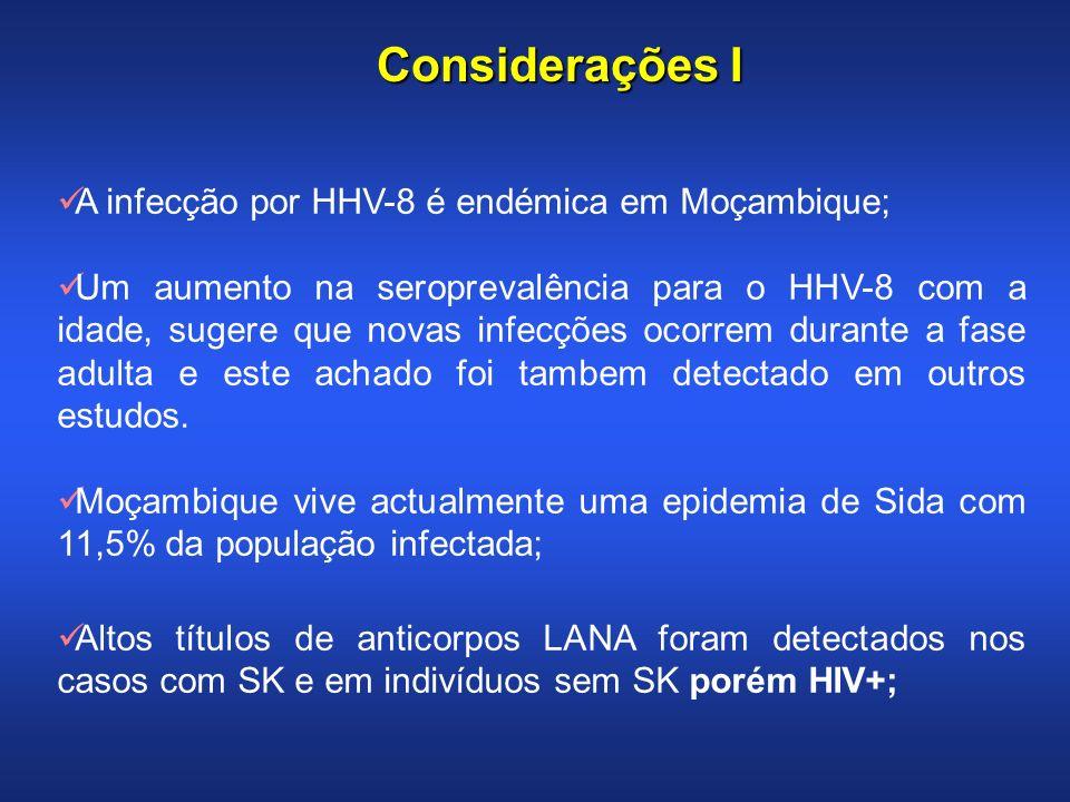 Considerações I A infecção por HHV-8 é endémica em Moçambique;