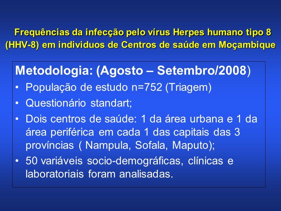 Frequências da infecção pelo vírus Herpes humano tipo 8 (HHV-8) em individuos de Centros de saúde em Moçambique