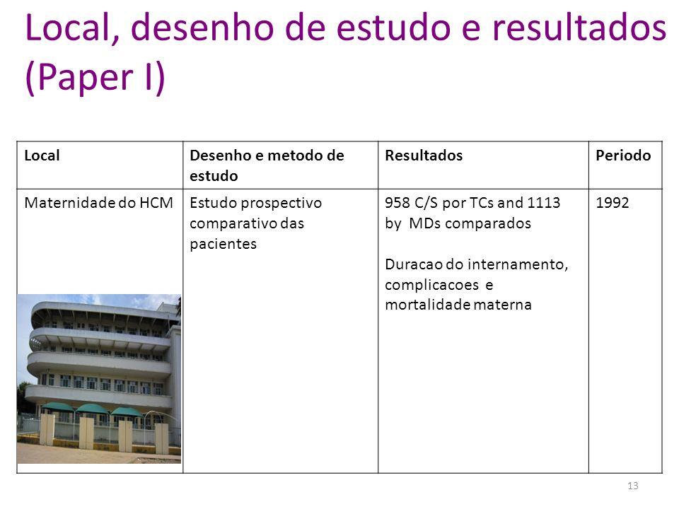 Local, desenho de estudo e resultados (Paper I)
