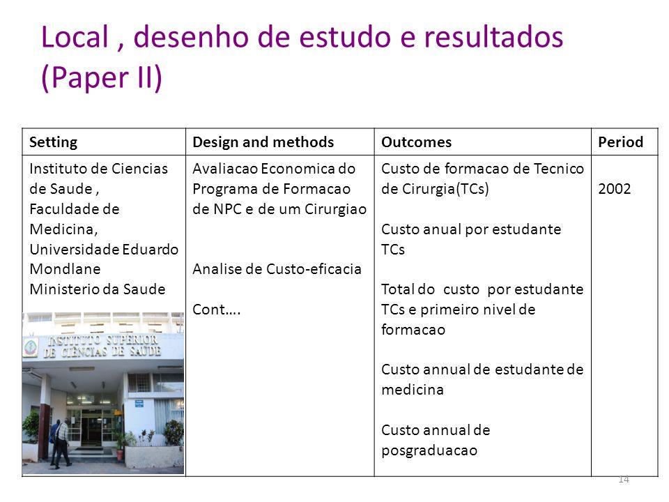 Local , desenho de estudo e resultados (Paper II)