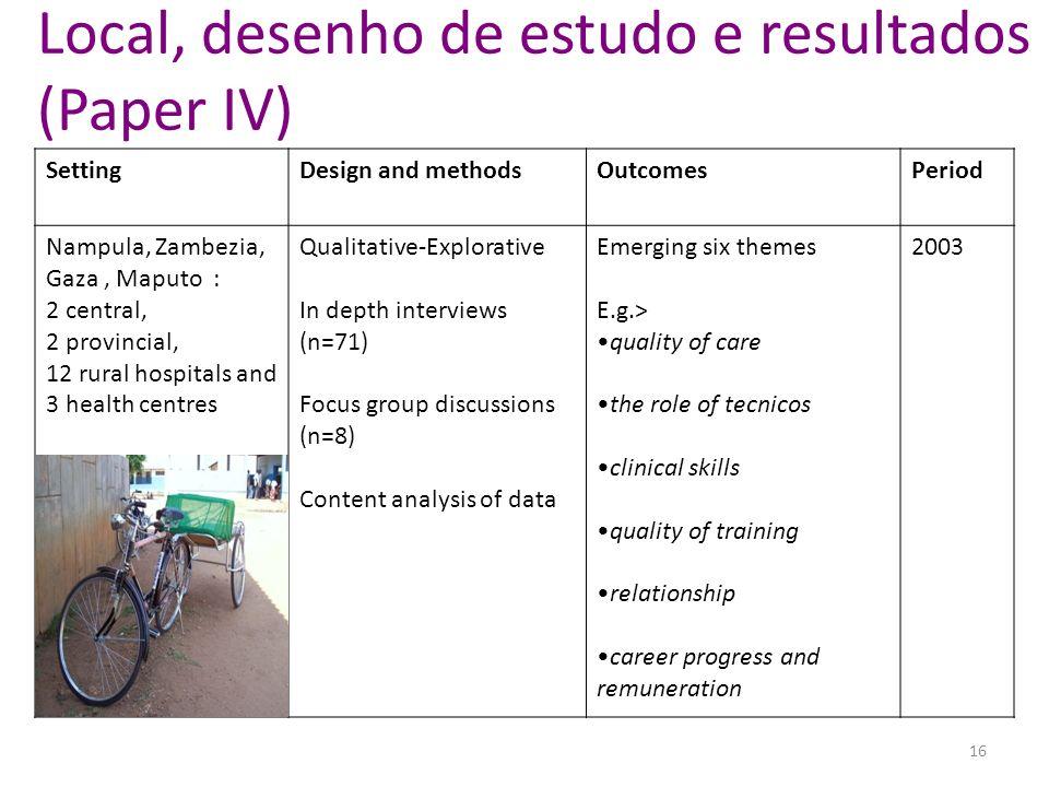 Local, desenho de estudo e resultados (Paper IV)