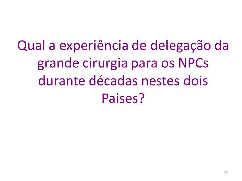 Qual a experiência de delegação da grande cirurgia para os NPCs durante décadas nestes dois Paises