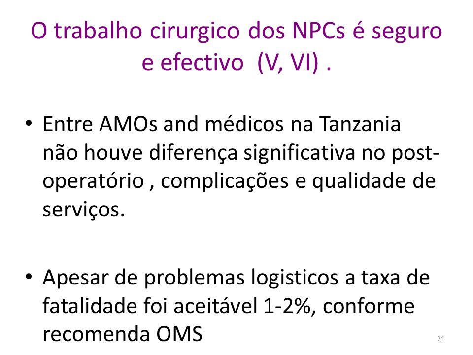 O trabalho cirurgico dos NPCs é seguro e efectivo (V, VI) .