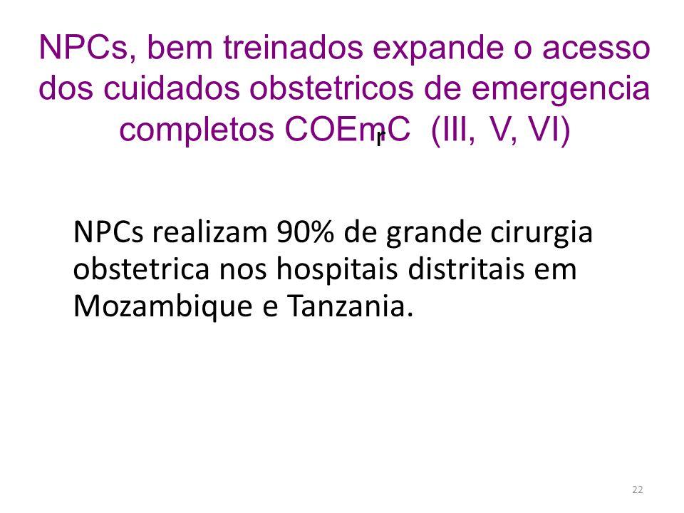 NPCs, bem treinados expande o acesso dos cuidados obstetricos de emergencia completos COEmC (III, V, VI)