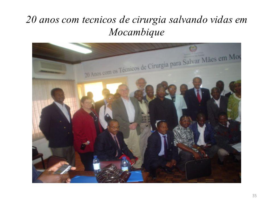 20 anos com tecnicos de cirurgia salvando vidas em Mocambique