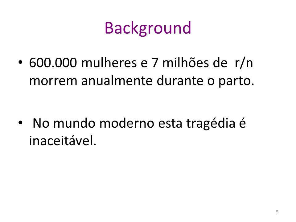 Background 600.000 mulheres e 7 milhões de r/n morrem anualmente durante o parto.