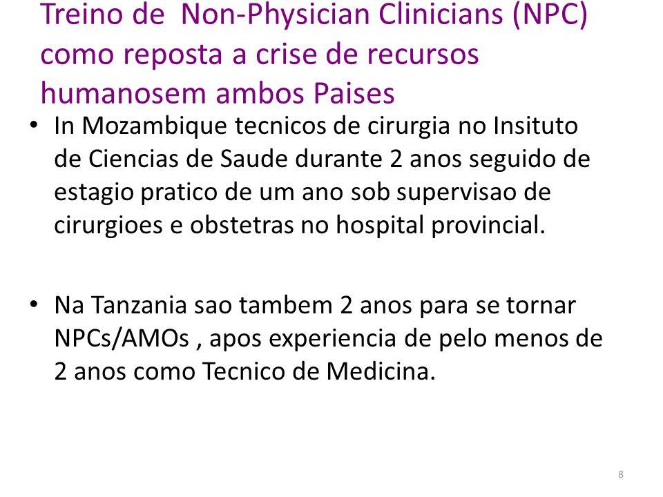 Treino de Non-Physician Clinicians (NPC) como reposta a crise de recursos humanosem ambos Paises