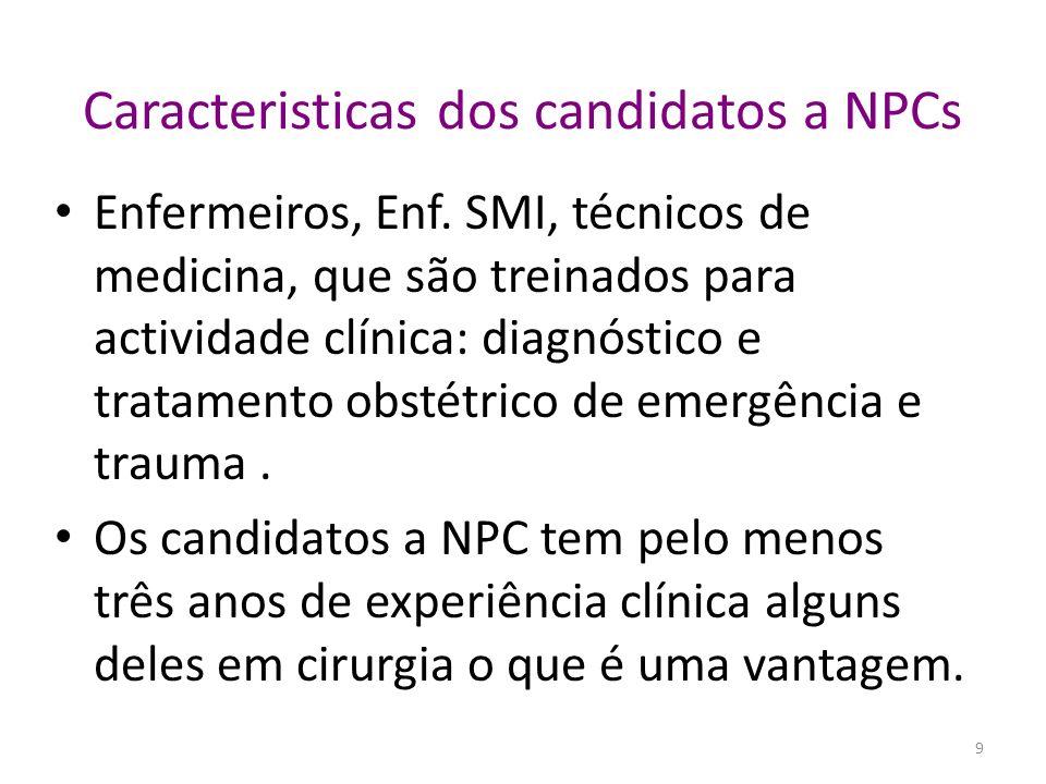 Caracteristicas dos candidatos a NPCs