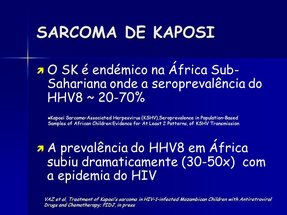 SARCOMA DE KAPOSI O SK é endémico na África Sub-Sahariana onde a seroprevalência do HHV8 ~ 20-70%