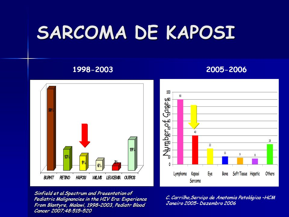 SARCOMA DE KAPOSI 1998-2003 2005-2006 Number of Cases