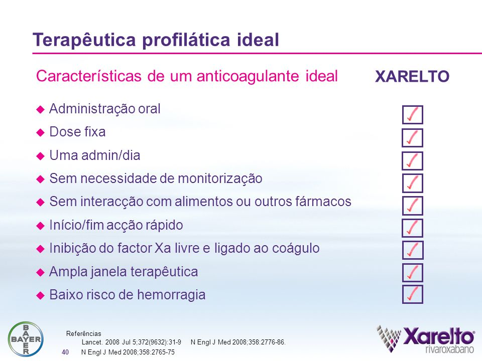 Características de um anticoagulante ideal