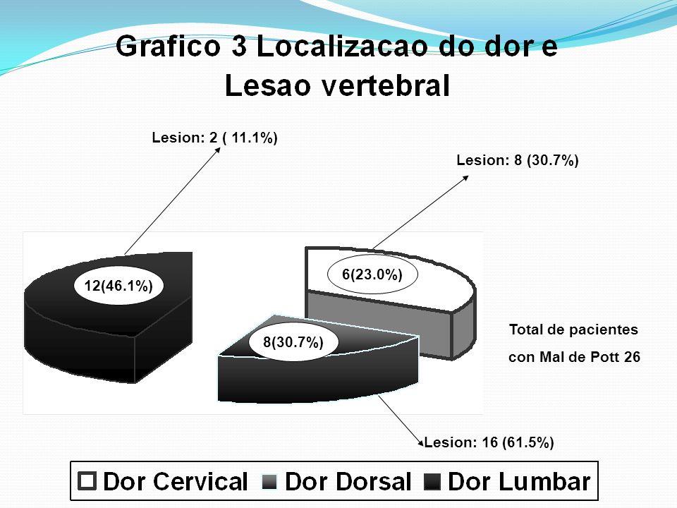 Lesion: 2 ( 11.1%) Lesion: 8 (30.7%) 6(23.0%) 12(46.1%) Total de pacientes. con Mal de Pott 26.