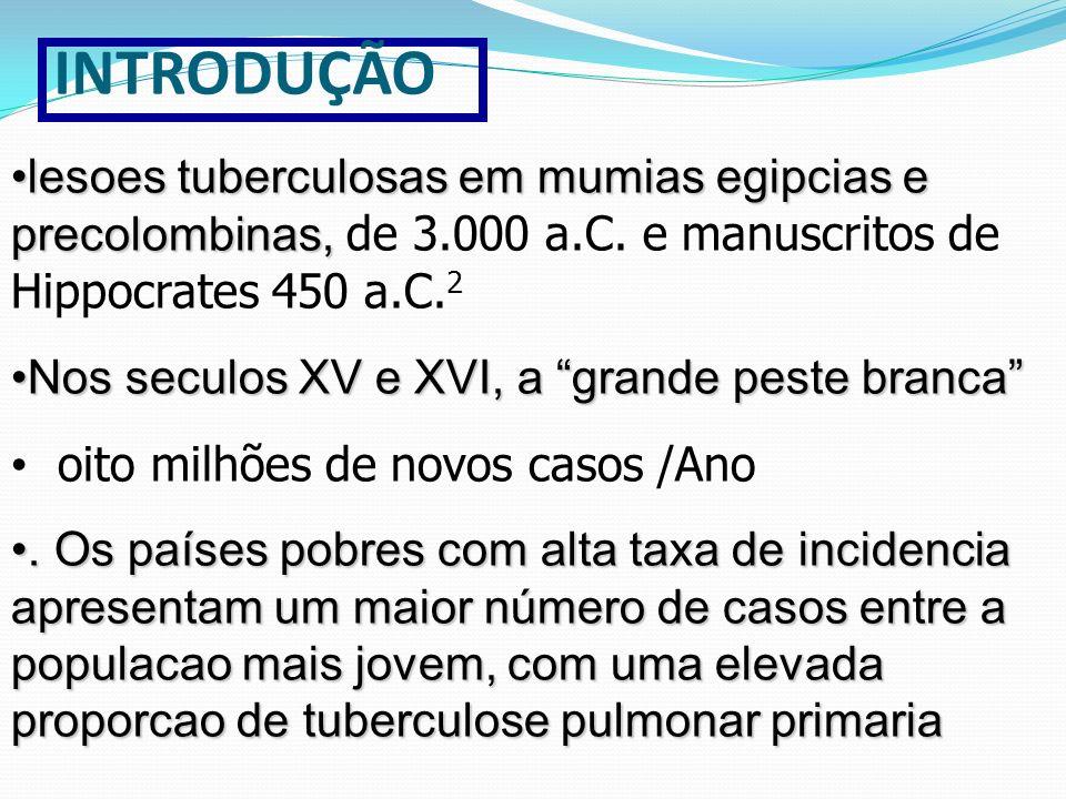 INTRODUÇÃO lesoes tuberculosas em mumias egipcias e precolombinas, de 3.000 a.C. e manuscritos de Hippocrates 450 a.C.2.