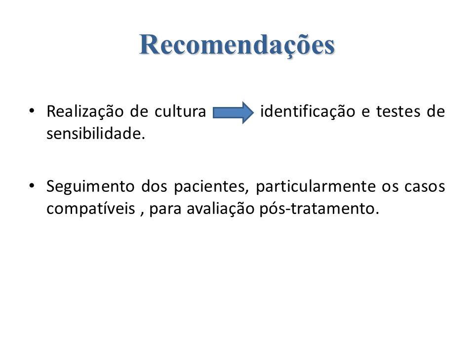 RecomendaçõesRealização de cultura identificação e testes de sensibilidade.